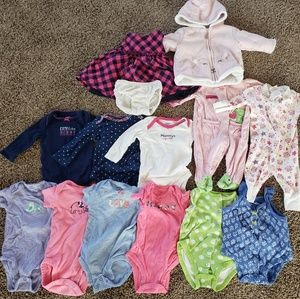 Lot: Size 3 months baby girl clothing (14 pieces)